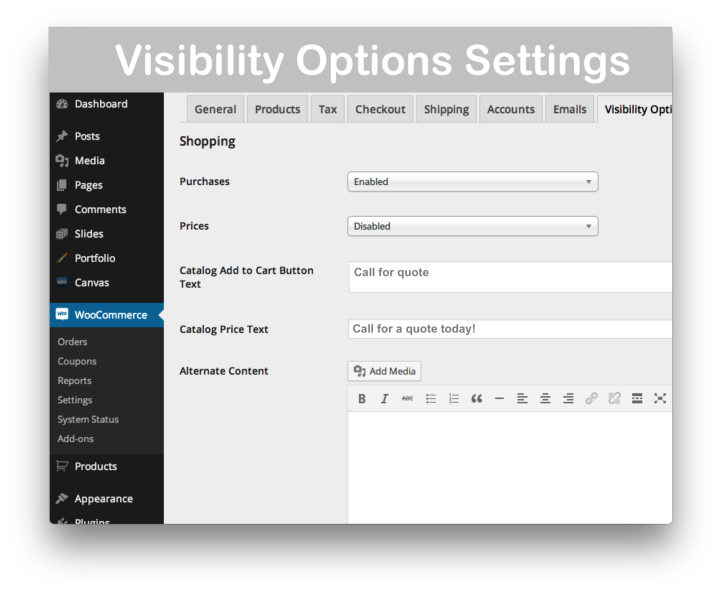 WooCommerce Catalog Visibility Options Extension- Settings Demo