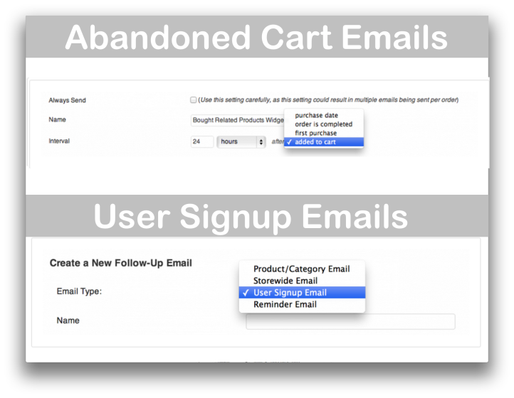 WooCommerce Follow Up Emails Extension - Abandoned Carts and User Signup Demo