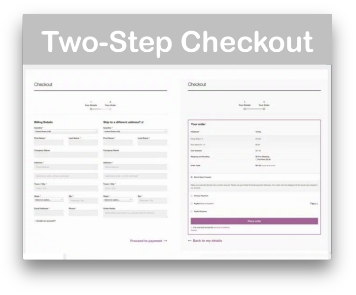 Storefront Checkout Customiser Plugin- Demo Two-Step Checkout
