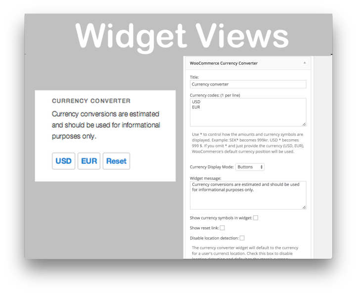 WooCommerce Currency Converter- Widget Demos