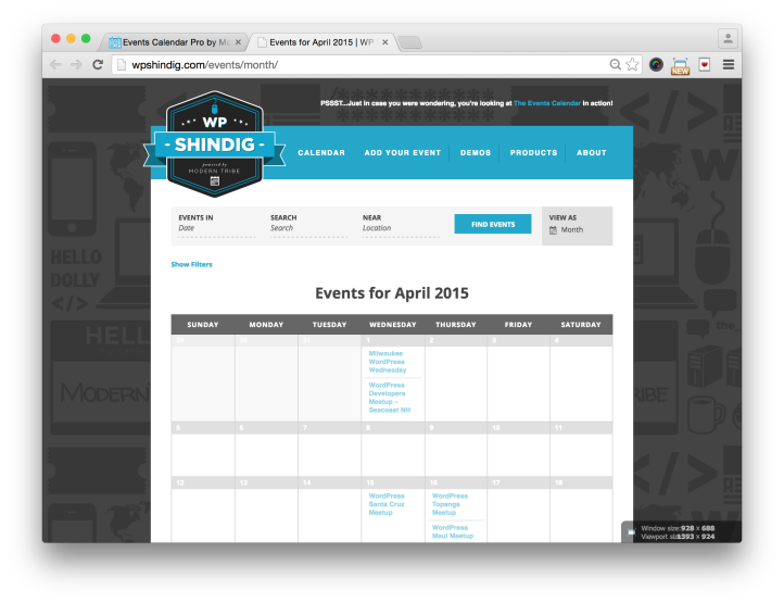 Events Calendar Pro for WordPress Month View Demo