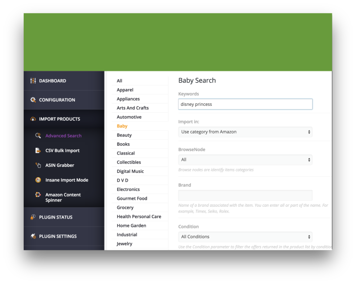 WooCommerce Amazon Affiliates Plugin Demo Advanced Search