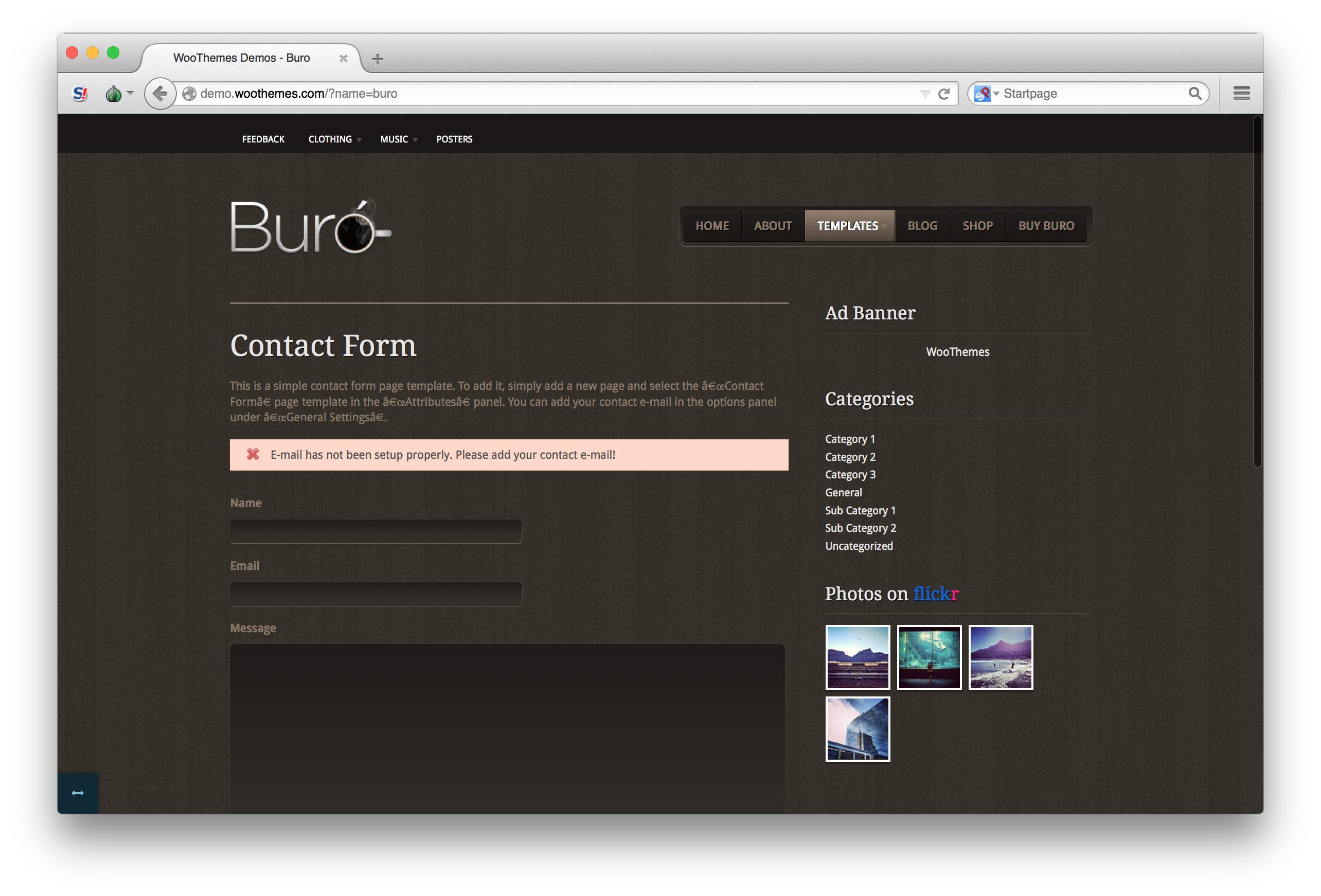 Woothemes buro theme contact demo for Buro premium