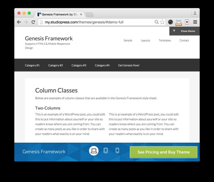 StudioPress Genesis Theme Framework Demo Columns Layout