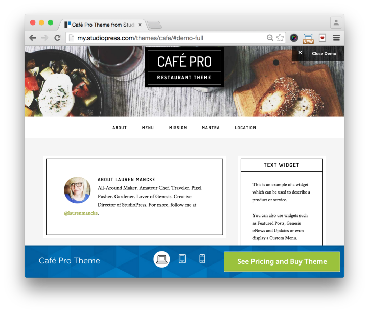 Studiopress Cafe Pro Theme Demo 2