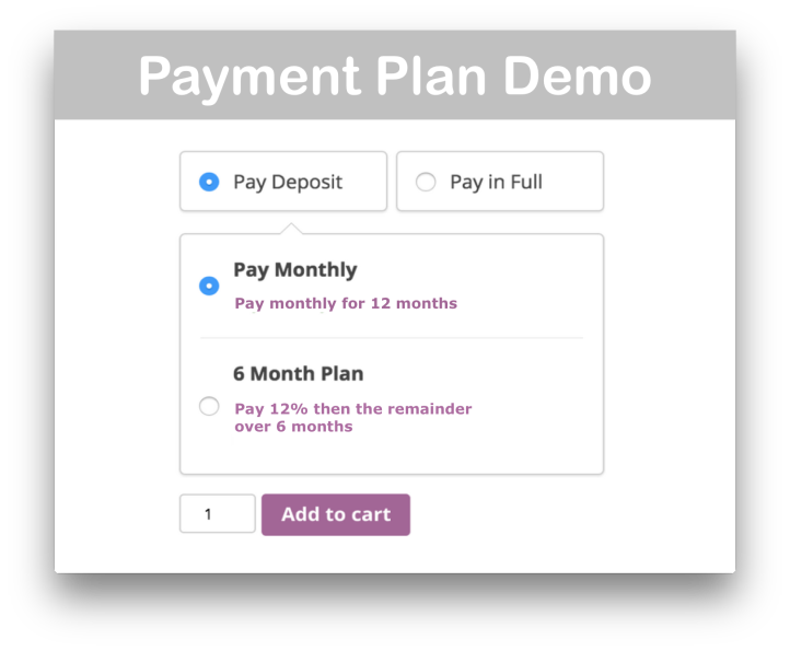 WooCommerce Deposits Plugin Demo Cart Page