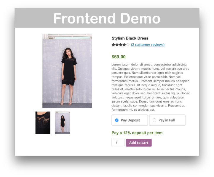 WooCommerce Deposits Plugin Demo Frontend