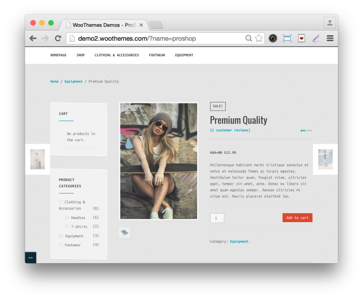 WooThemes ProShop Theme Demo Single Product Page