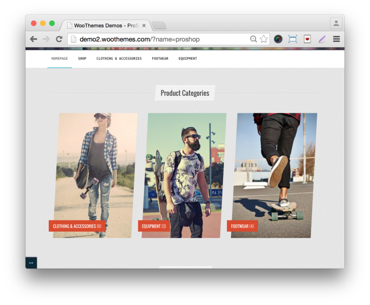WooThemes ProShop Theme Home Demo Product Categories