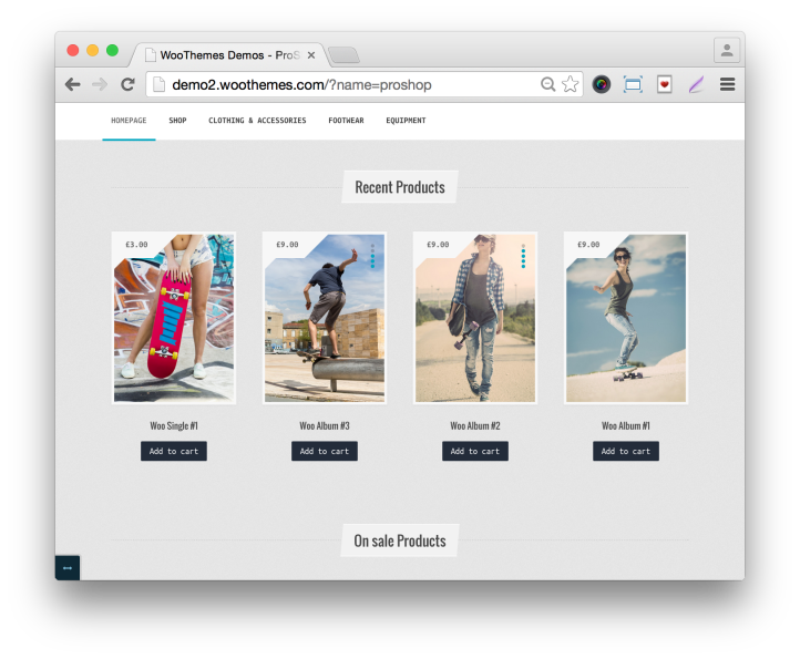 WooThemes ProShop Theme Home Demo Recent Products