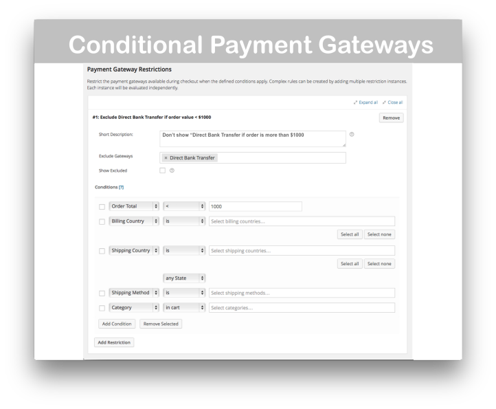 WooCommerce Conditional Shipping and Payments- Payment Gateway Restrictions