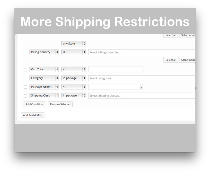 WooCommerce Conditional Shipping and Payments- Shipping Restrictions 2 Demo