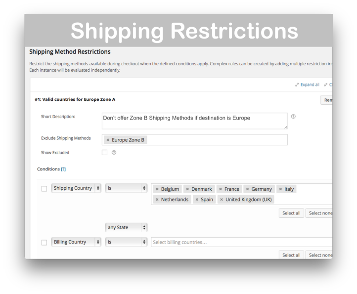 WooCommerce Conditional Shipping and Payments- Shipping Restrictions Demo