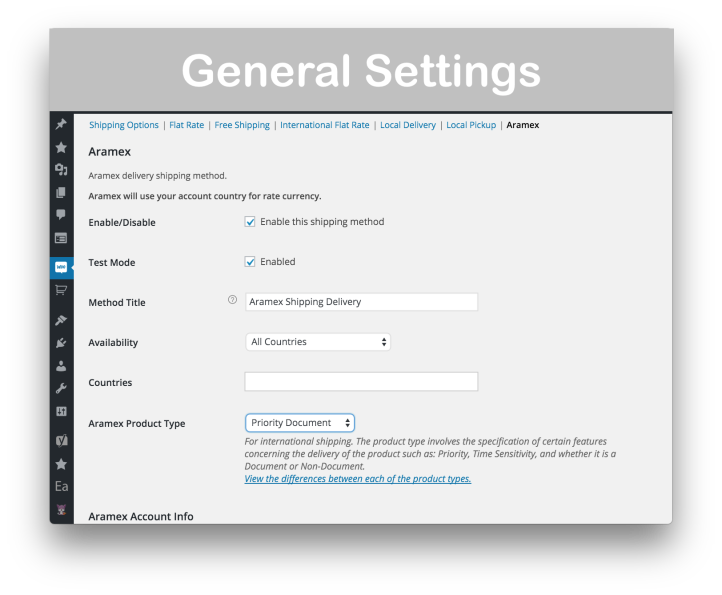 WooCommerce Aramex Plugin for Shipping - General Settings Demo