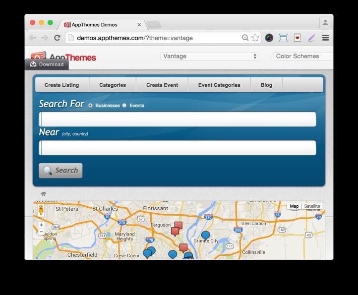Wordpress Business Directory Theme Vantage-Demo Listings