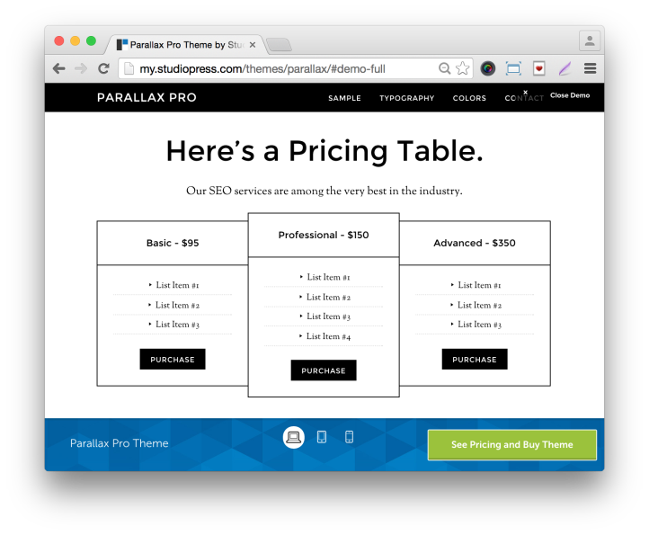 Studiopress Parallax Pro Theme- Demo Pricing Table