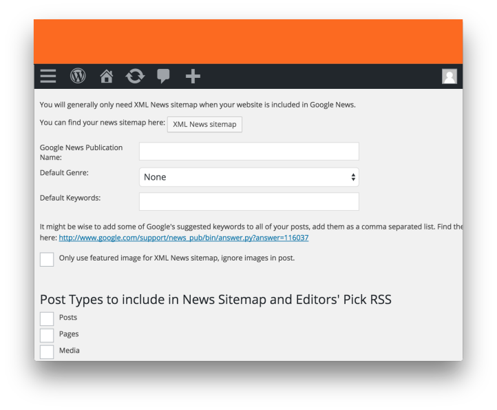 Wordpress News SEO Plugin by Yoast- News Sitemap Settings