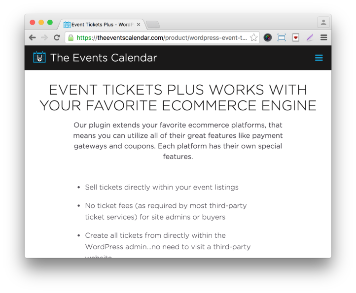 Event Tickets Plus Plugin: Features