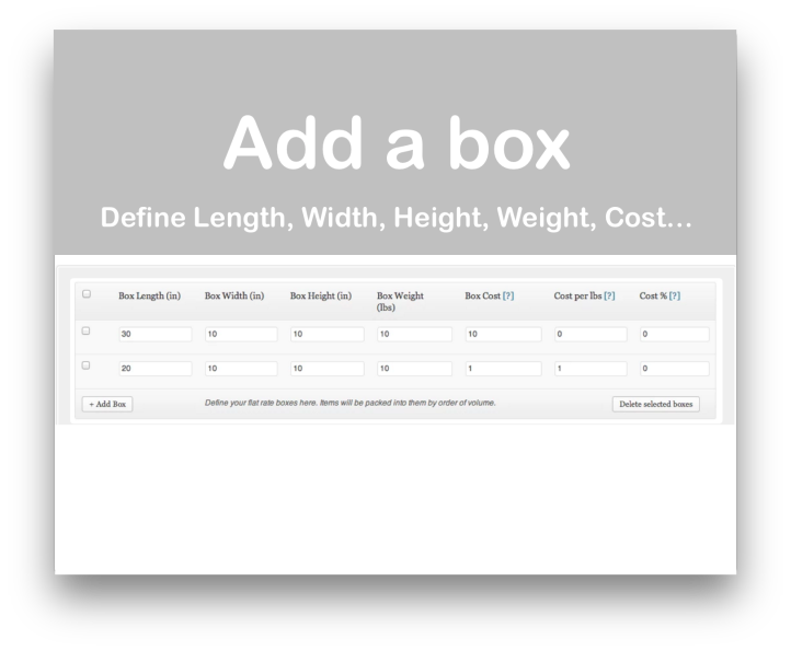WooCommerce Flat Rate Box Shipping Plugin- Demo Add Boxes