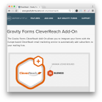 Gravity Forms CleverReach Add-On