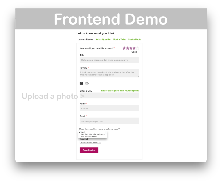 WooCommerce Product Reviews Pro- Frontend Demo