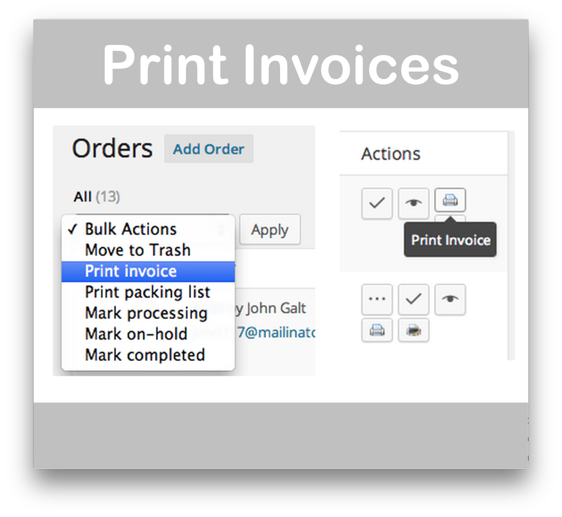 WPspring For WooCommerce · Print Invoices ...  How To Print Invoices