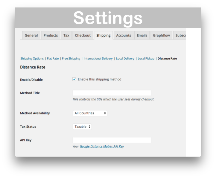 WooCommerce Distance Rate Shipping Download- Settings Demo