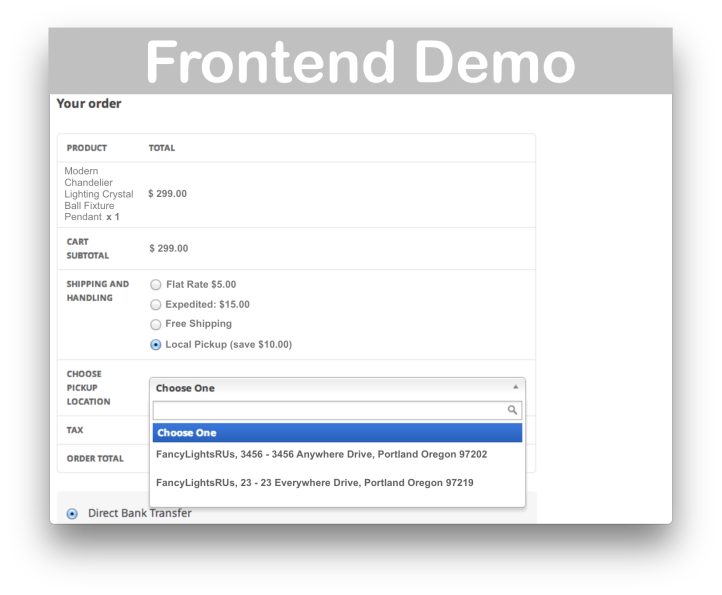 WooCommerce Shipping Local Pickup Method Plus- Frontend Demo