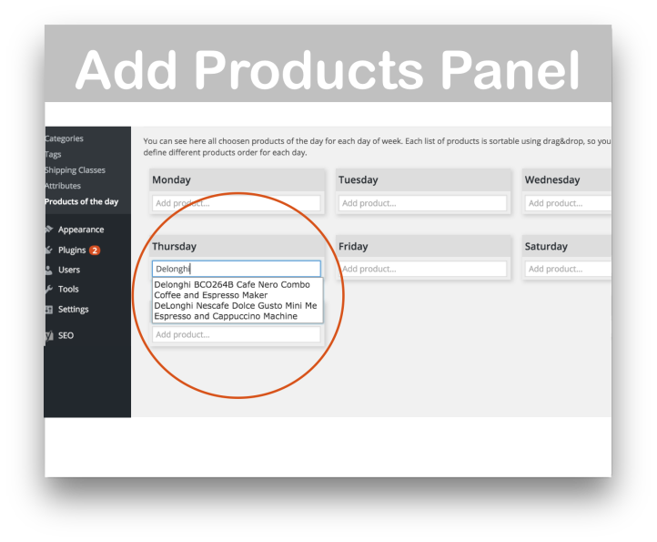 WooCommerce Products of the Day Plugin- Add Products 1