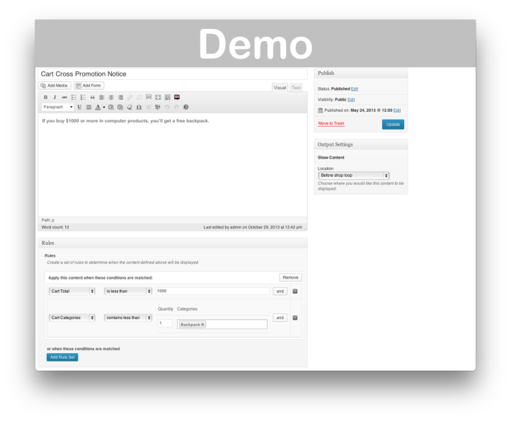 WooCommerce Conditional Content Extension- Demo