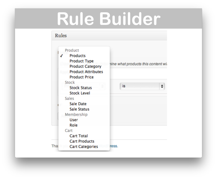 WooCommerce Conditional Content Extension- Rule Builder Demo
