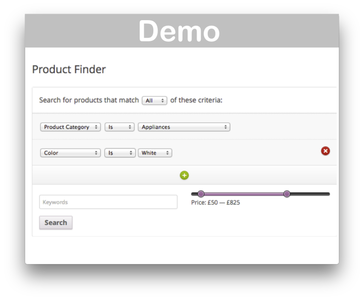 WooCommerce Product Finder Plugin- Demo 1