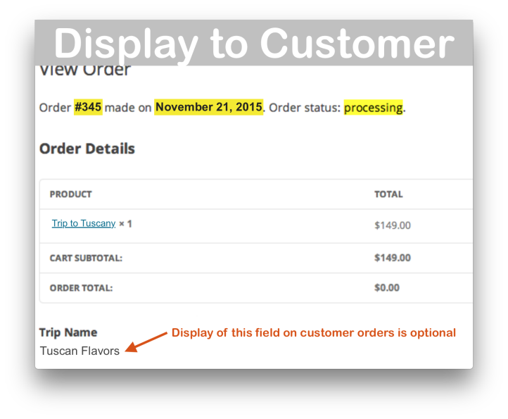 WooCommerce Admin Custom Order Fields Plugin- Customer View Demo