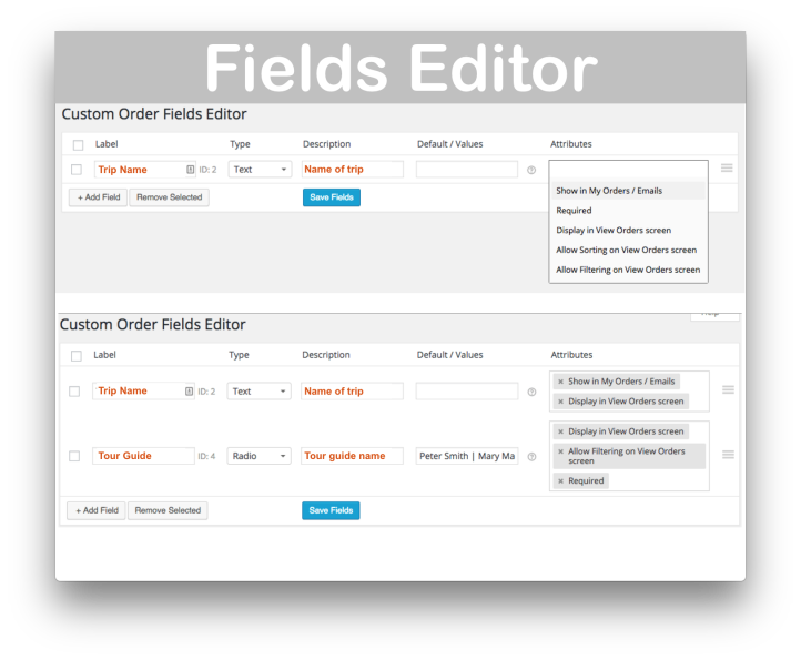 WooCommerce Admin Custom Order Fields Plugin- Fields Editor