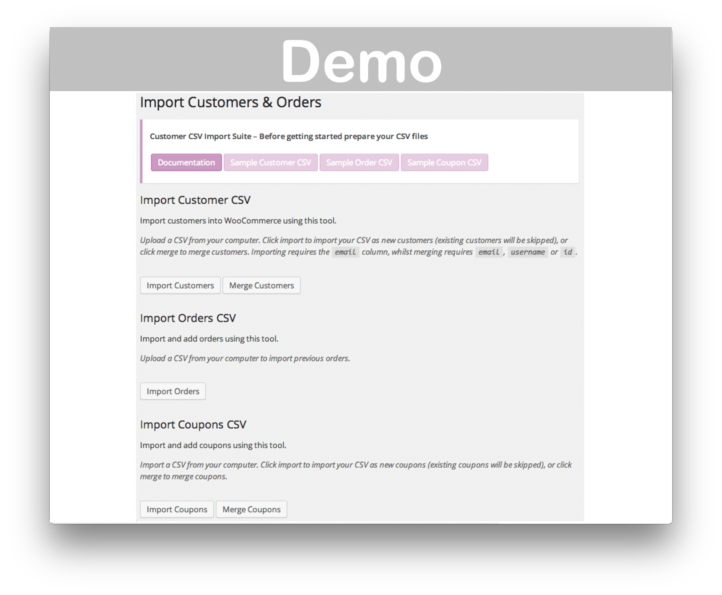Woocommerce Customer Order Coupon CSV Import Suite Import Coupons- Demo