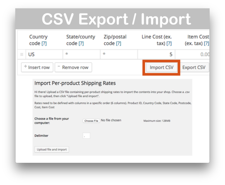 WooCommerce Per Product Shipping Plugin- CSV Demo