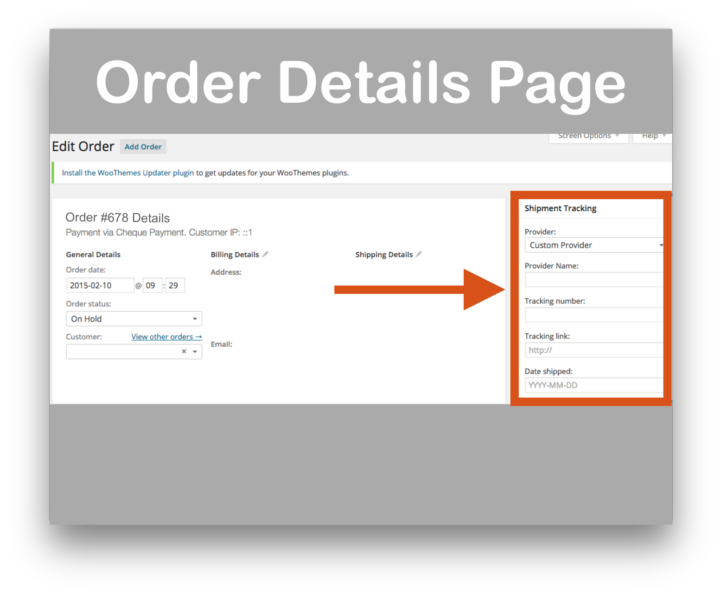 WooCommerce Shipment Tracking Plugin- Order Details Page