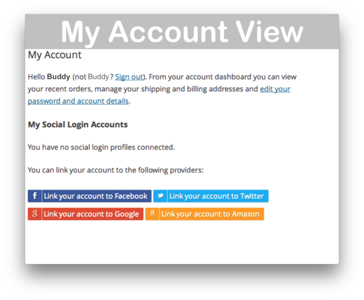 WooCommerce Social Login Plugin- My Account Demo