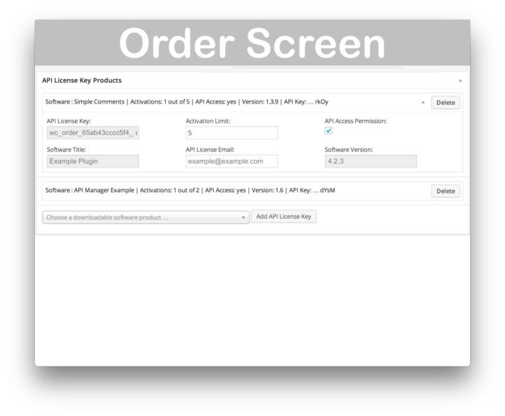 WooCommerce API Manager- Order Screen