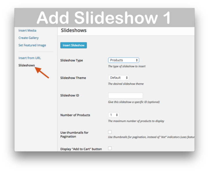 WooCommerce WooSlider Products Slideshow Plugin- Add Slideshow Details