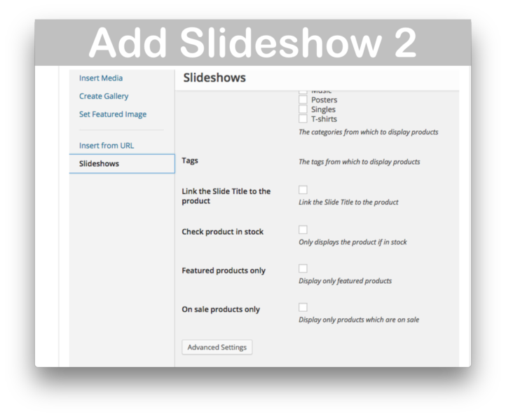 WooCommerce WooSlider Products Slideshow Plugin- Add Slideshow Details 2