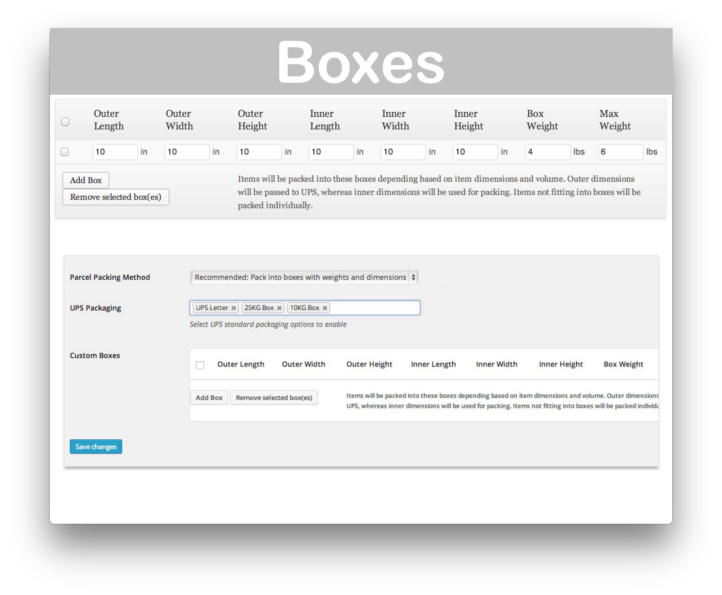 WooCommerce UPS Shipping Plugin- Boxes Demo