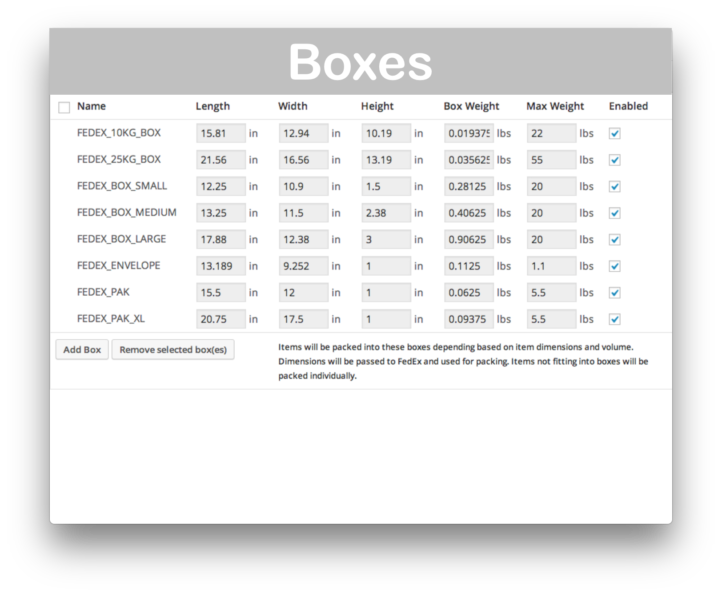 WooCommerce Fedex Shipping API- Boxes Demo