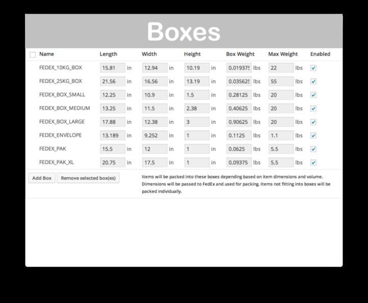 WooCommerce Fedex Shipping API- Boxes Demo