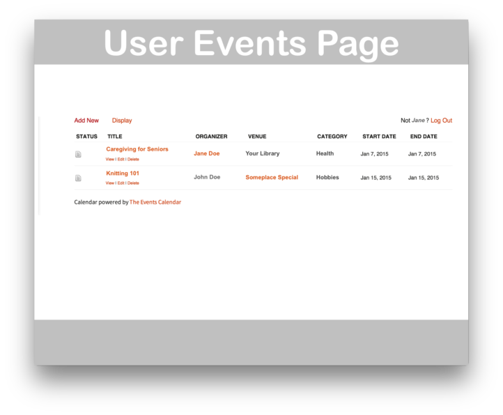Events Calendar Community Events Plugin- User Events