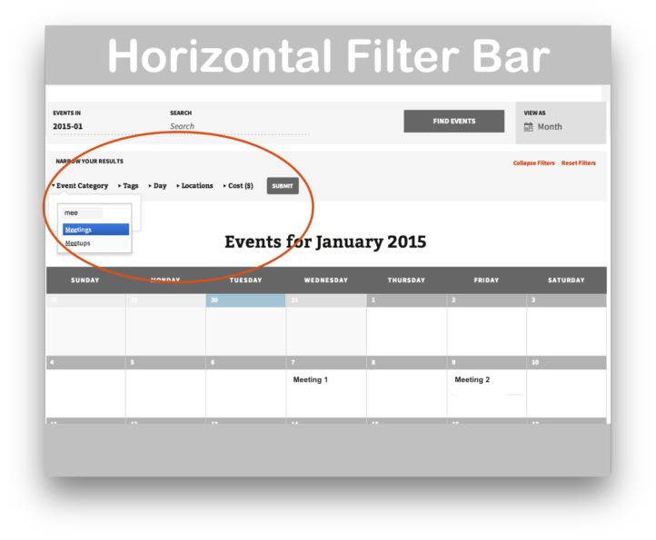 Events Calendar Filter Bar Plugin- Horizontal Demo