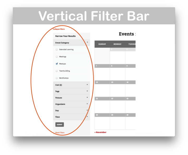 Events Calendar Filter Bar Plugin- Vertical Demo