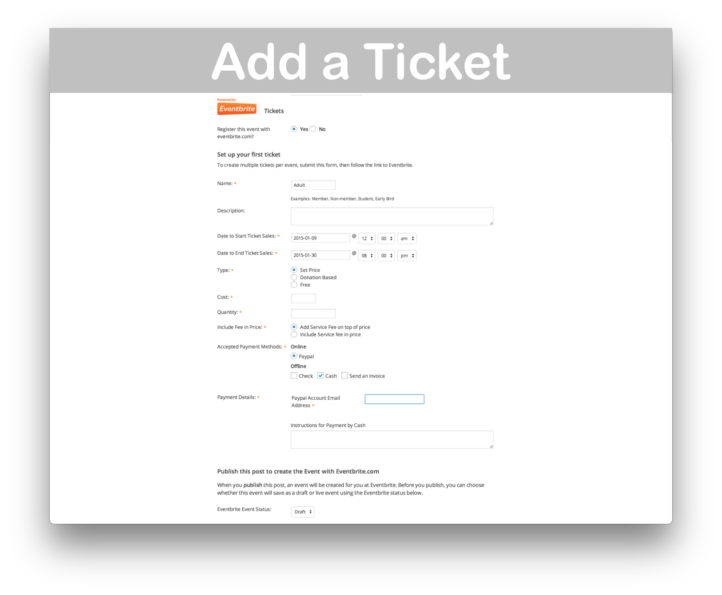 Events Calendar Eventbrite Tickets Plugin- Add Ticket Demo