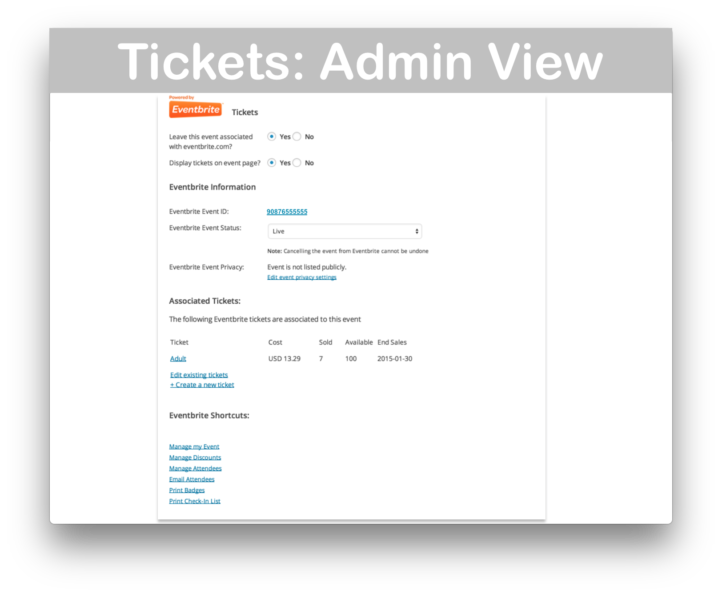 Events Calendar Eventbrite Tickets Plugin- Admin Demo