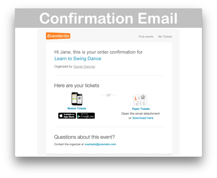 Events Calendar Eventbrite Tickets Plugin- Confirm Email